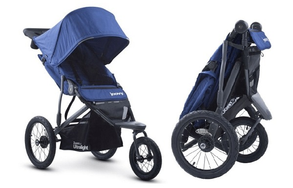 The Joovy Zoom 360 Ultralight has an easy and compact fold